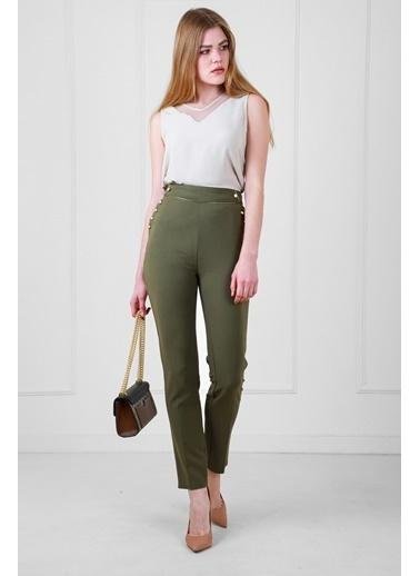 JEANNE D'ARC Yüksek Belli Biye Ve Düğme Detaylı Darpaça Pantolon  Haki